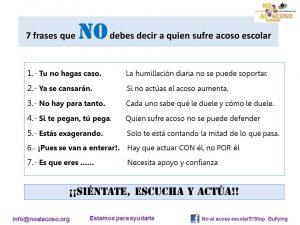 Imagen del post en Facebook de la asociación No al Acoso Escolar.
