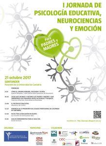 Cartel de la I Jornada de Psicología Educativa, Neurociencias y Emoción.